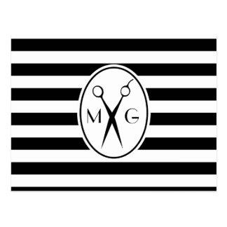 Scissor Monogram Initials Hair Stylist Barber Shop Postcard