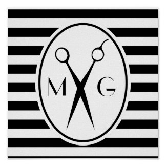 Scissor Monogram Initials Hair Stylist Barber Shop Poster