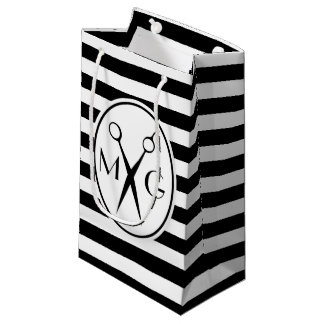 Scissor Monogram Initials Hair Stylist Barber Shop Small Gift Bag