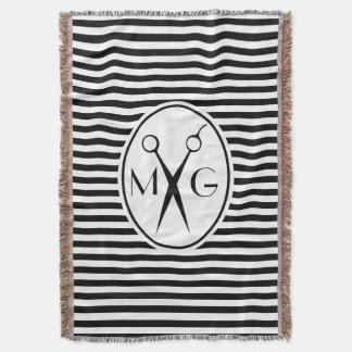 Scissor Monogram Initials Hair Stylist Barber Shop Throw Blanket