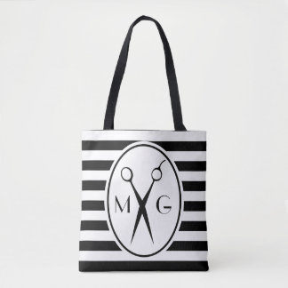 Scissor Monogram Initials Hair Stylist Barber Shop Tote Bag