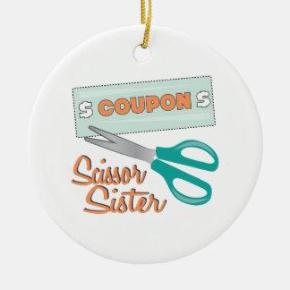 Scissor Sister Round Ceramic Decoration