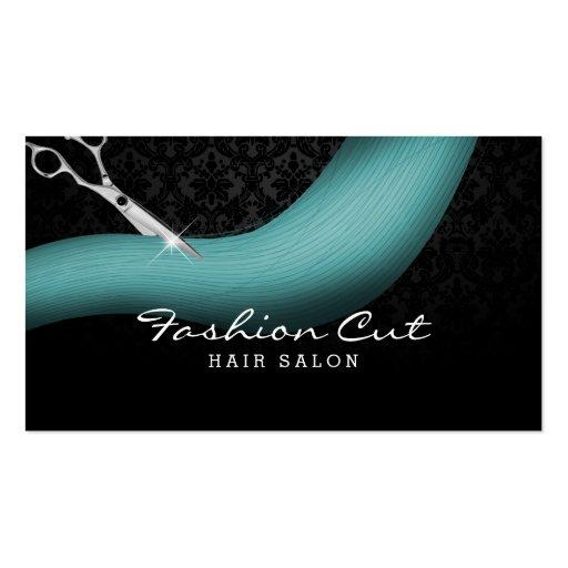 Scissor & Teal Hair Damask Hair Salon Appointment Business Cards