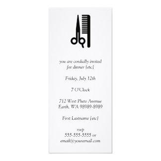 Scissors and Comb 10 Cm X 24 Cm Invitation Card