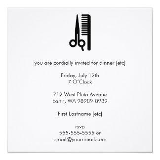 Scissors and Comb 13 Cm X 13 Cm Square Invitation Card