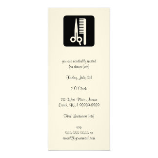 Scissors and Comb Hair Biz 10 Cm X 24 Cm Invitation Card