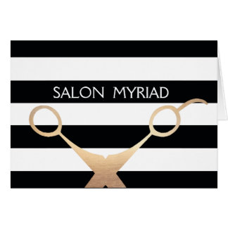 Scissors Black and White Striped Salon Card