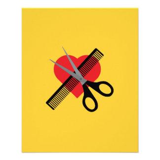 scissors & comb & heart 11.5 cm x 14 cm flyer