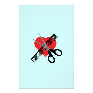 scissors & comb & heart 14 cm x 21.5 cm flyer