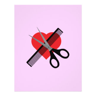 scissors & comb & heart 21.5 cm x 28 cm flyer