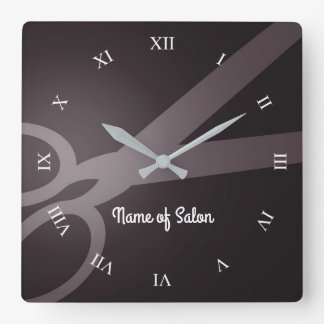 Scissors | Dark Brown & White | Hair Salon Square Wall Clock