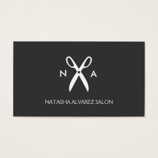 SCISSORS MONOGRAM LOGO for HAIR SALON, STYLISTS Business Card