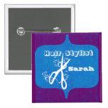Scissors Swirls  Fashion Stylist Salons Name Tag 15 Cm Square Badge