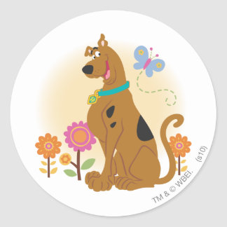 Scooby Doo Following Butterfly1 Round Sticker