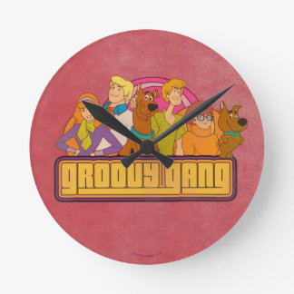 "Scooby-Doo | ""Groovy Gang"" Retro Cartoon Graphic Round Clock"