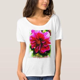Scoop neck women's tee with big pink begonia