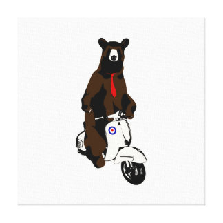 Scooter Bear Stretched Canvas Prints