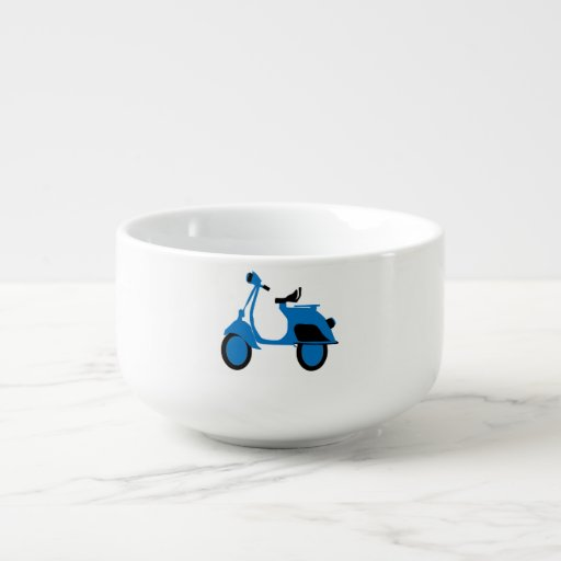 Scooter Blue Soup Bowl With Handle
