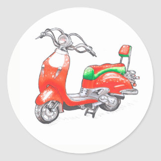Scooter Classic Round Sticker
