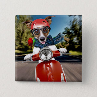 Scooter dog ,jack russell 15 cm square badge