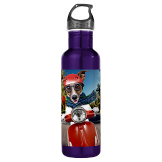 Scooter dog ,jack russell 710 ml water bottle