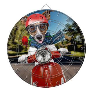 Scooter dog ,jack russell dartboard