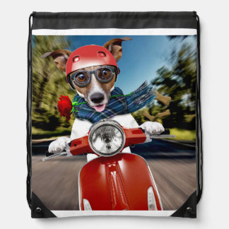 Scooter dog ,jack russell drawstring bag