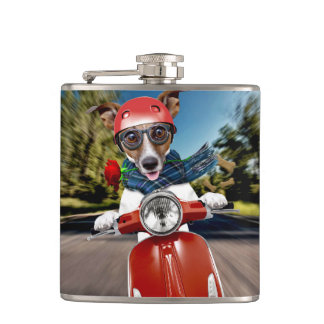 Scooter dog ,jack russell hip flask