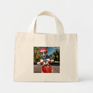 Scooter dog ,jack russell mini tote bag
