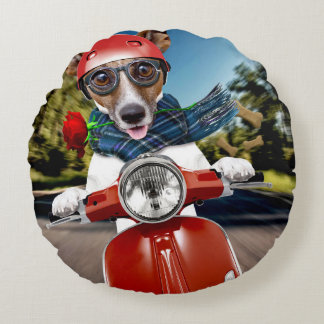 Scooter dog ,jack russell round cushion