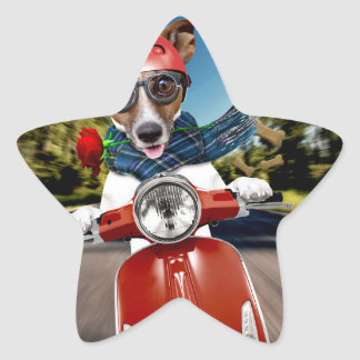 Scooter dog ,jack russell star sticker