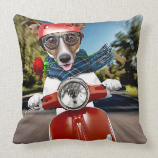 Scooter dog ,jack russell throw pillow