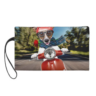 Scooter dog ,jack russell wristlet clutch