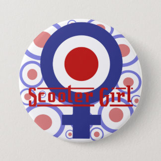 Scooter Girl design on target background 7.5 Cm Round Badge