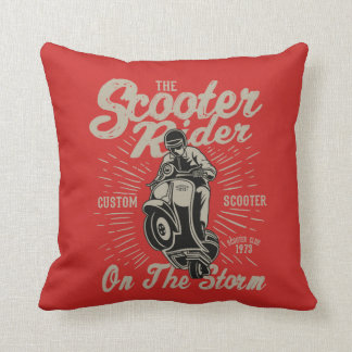 Scooter Rider Throw Pillow