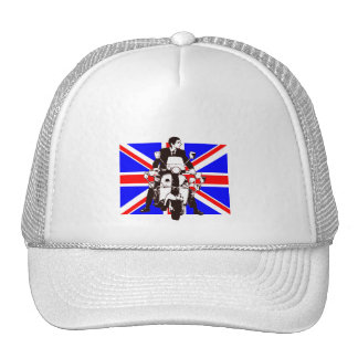 Scooter Rider with Union Jack background Hats