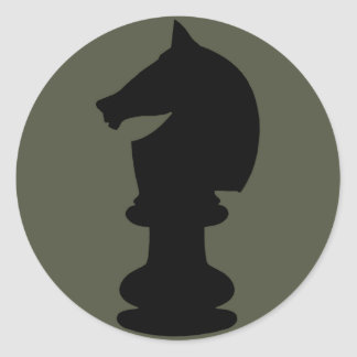 Scope Cap Sticker, Black Knight Chess Piece Classic Round Sticker