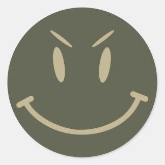 Scope Cap Sticker, Evil Smiley Face, Style 2 Round Sticker