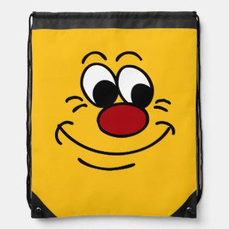 Scornful Smiley Face Grumpey Drawstring Bag
