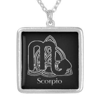 Scorpio Birth Sign Celtic Knot Zodiac Necklace Square Pendant Necklace