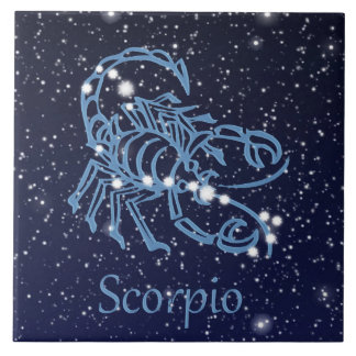 Scorpio Constellation and Zodiac Sign with Stars Large Square Tile