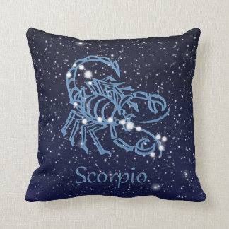 Scorpio Constellation and Zodiac Sign with Stars Throw Pillow