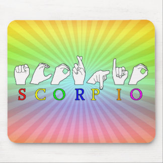 SCORPIO FINGERSPELLED ASL NAME ZODIAC SIGN MOUSE PAD