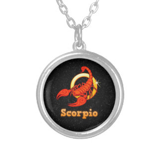 Scorpio illustration silver plated necklace
