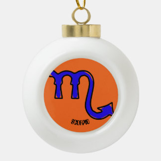 Scorpio symbol ceramic ball christmas ornament