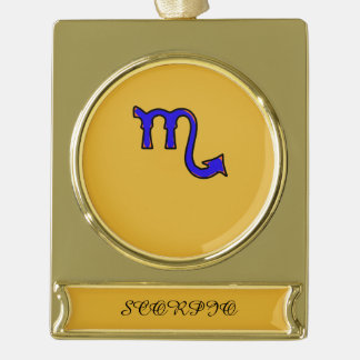 Scorpio symbol gold plated banner ornament