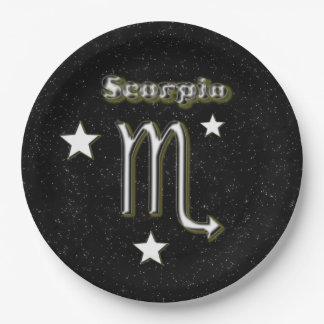 Scorpio symbol paper plate