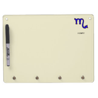 Scorpio symbol t dry erase board with key ring holder