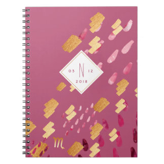 Scorpio Zodiac Abstract Maroon & Gold Notebook