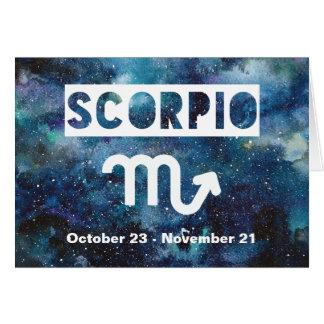 Scorpio Zodiac Blue Watercolor Galaxy Birthday Card